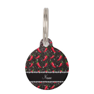 Personalized name black glitter chili pepper pet name tag
