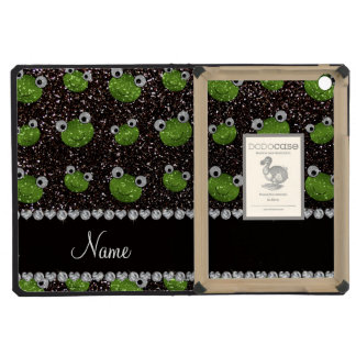 Personalized name black glitter frogs iPad mini cover
