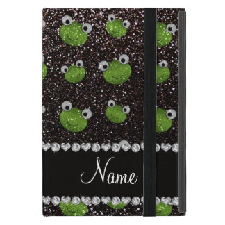 Personalized name black glitter frogs covers for iPad mini