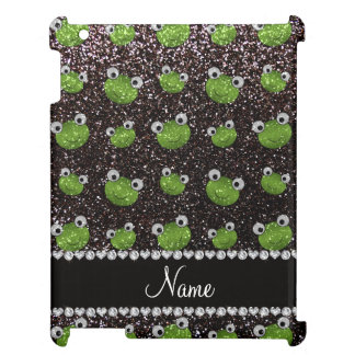Personalized name black glitter frogs cover for the iPad