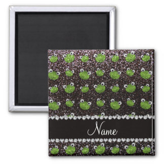 Personalized name black glitter frogs refrigerator magnet