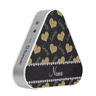 Personalized name black gold hearts mom love