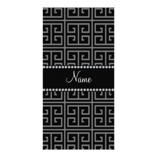 Personalized name black greek key pattern photo cards