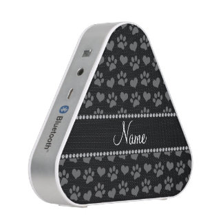 Personalized name black hearts and paw prints bluetooth speaker