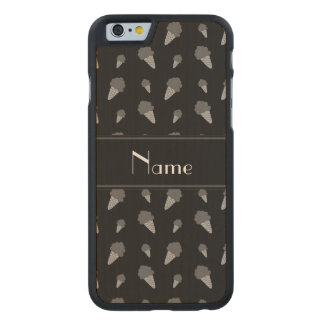 Personalized name black ice cream pattern carved® maple iPhone 6 case