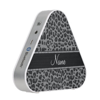 Personalized name black leopard pattern bluetooth speaker
