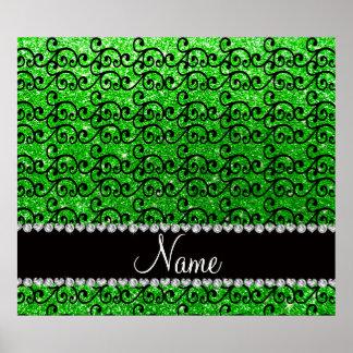 Personalized name black lime green glitter swirls print