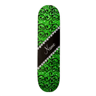 Personalized name black lime green glitter swirls skate boards