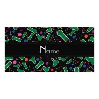 Personalized name black mini golf photo card