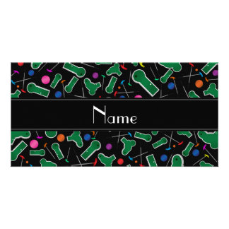 Personalized name black mini golf picture card
