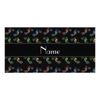 Personalized name black motorcycles personalised photo card