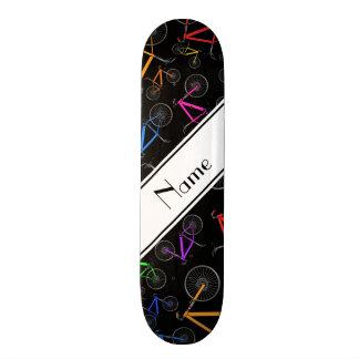 Personalized name black mountain bikes skate board deck