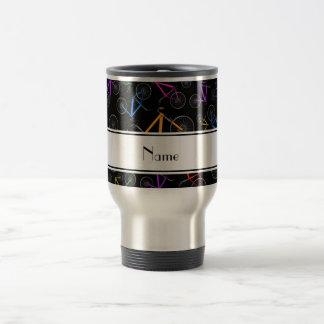 Personalized name black mountain bikes stainless steel travel mug