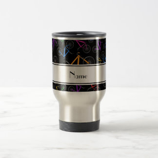 Personalized name black mountain bikes travel mug