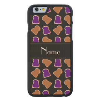 Personalized name black peanut butter jelly carved® maple iPhone 6 case