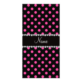 Personalized name black pink polka dots custom photo card