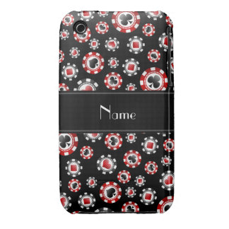 Personalized name black poker chips Case-Mate iPhone 3 cases