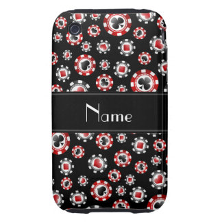 Personalized name black poker chips iPhone 3 tough cases