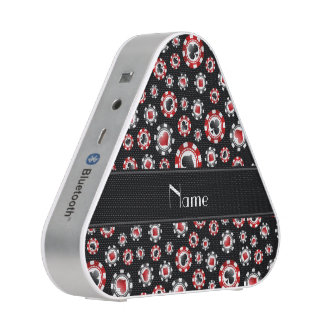 Personalized name black poker chips bluetooth speaker