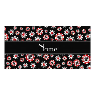 Personalized name black poker chips photo greeting card