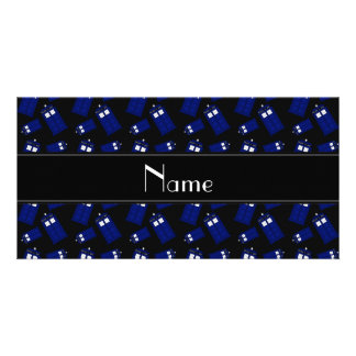 Personalized name black police box photo card