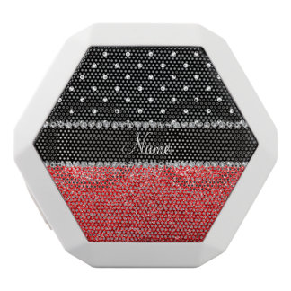 Personalized name black polka dots red glitter white boombot rex bluetooth speaker