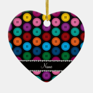 Personalized name black rainbow buttons pattern ceramic heart ornament