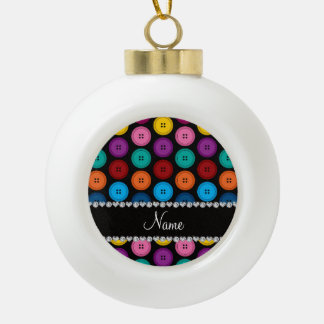 Personalized name black rainbow buttons pattern ceramic ball ornament
