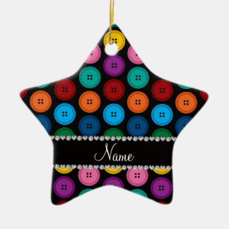Personalized name black rainbow buttons pattern ceramic star ornament