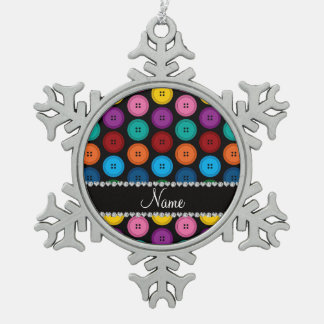Personalized name black rainbow buttons pattern pewter snowflake ornament
