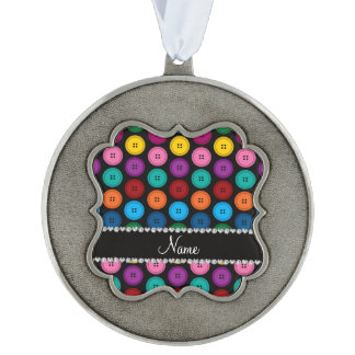 Personalized name black rainbow buttons pattern scalloped pewter ornament
