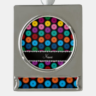 Personalized name black rainbow buttons pattern silver plated banner ornament