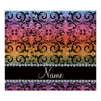 Personalized name black rainbow glitter damask poster