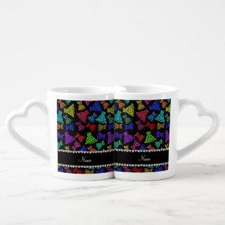 Personalized name black rainbow leopard dresses lovers mug set