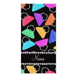 Personalized name black rainbow leopard purses photo card
