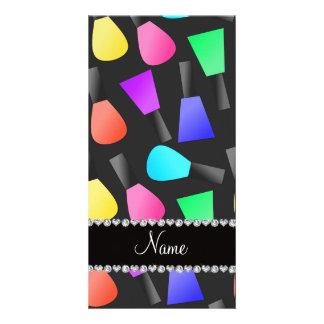 Personalized name black rainbow nail polish photo greeting card