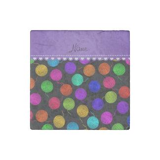 Personalized name black rainbow yarn balls stone magnet
