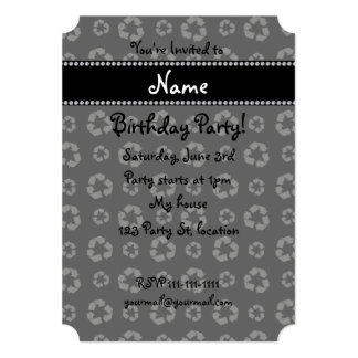 """Personalized name black recycling pattern 5"""" x 7"""" invitation card"""