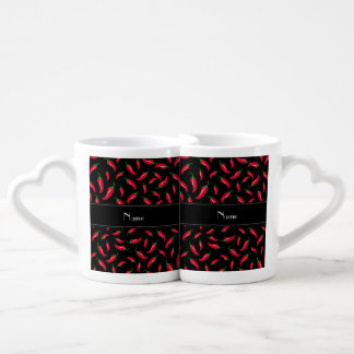 Personalized name black red chili pepper lovers mug set
