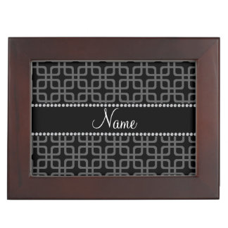 Personalized name black retro squares keepsake box