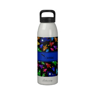 Personalized name black rocket ships reusable water bottle