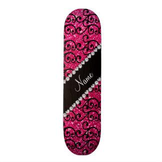 Personalized name black rose pink glitter swirls skateboards