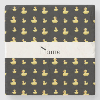 Personalized name black rubber duck pattern stone coaster
