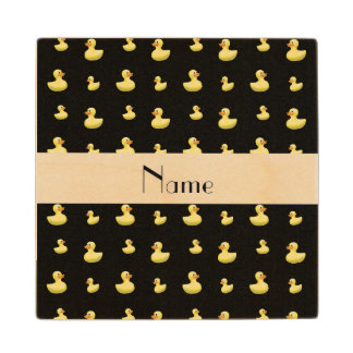 Personalized name black rubber duck pattern maple wood coaster