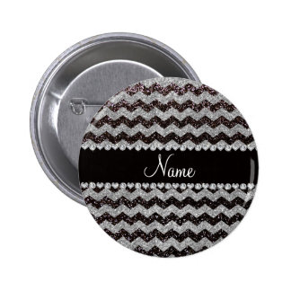 Personalized name black silver glitter chevrons 6 cm round badge
