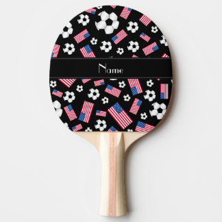 Personalized name black soccer american flag ping pong paddle