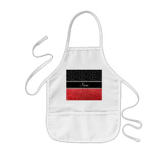 Personalized name black swirls red glitter aprons