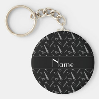 Personalized name black tools pattern basic round button key ring