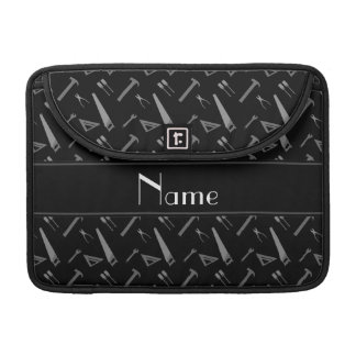 Personalized name black tools pattern MacBook pro sleeves