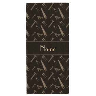 Personalized name black tools pattern wood USB 2.0 flash drive